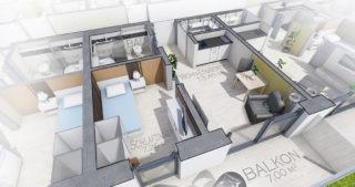 Visualisierung - mögliches 1,5-Zimmer-Appartment (OG)