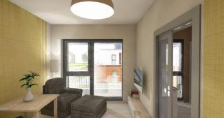 Visualisierung - 1,5-Zimmer-Appartment mit Blick zum Balkon