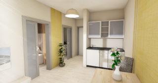 Visualisierung - 1,5-Zimmer-Appartment mit Blick zum Flur