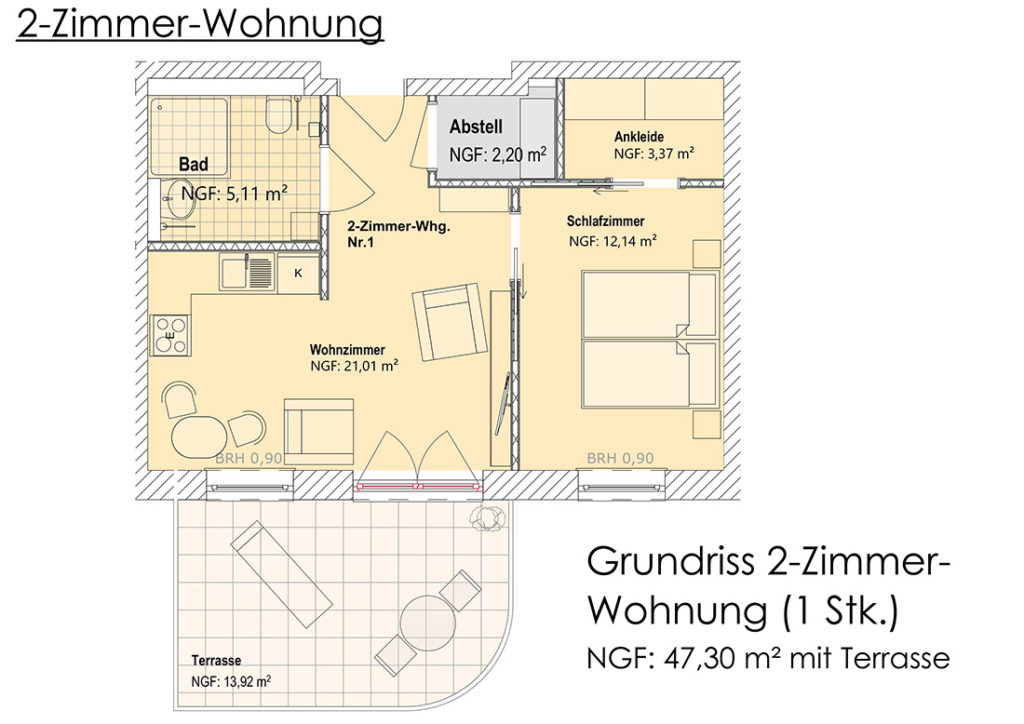 Visualisierung - Grundriss 2-Zimmer-Appartment (EG)