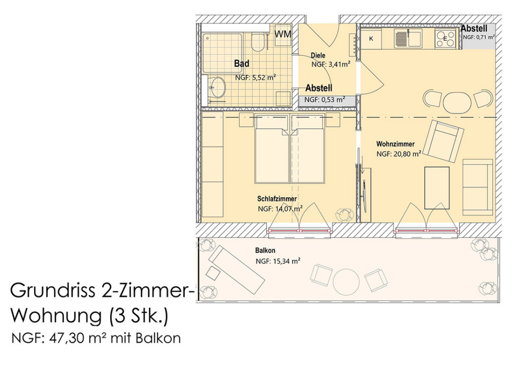 Visualisierung - Grundriss 2-Zimmer-Appartment (OG)