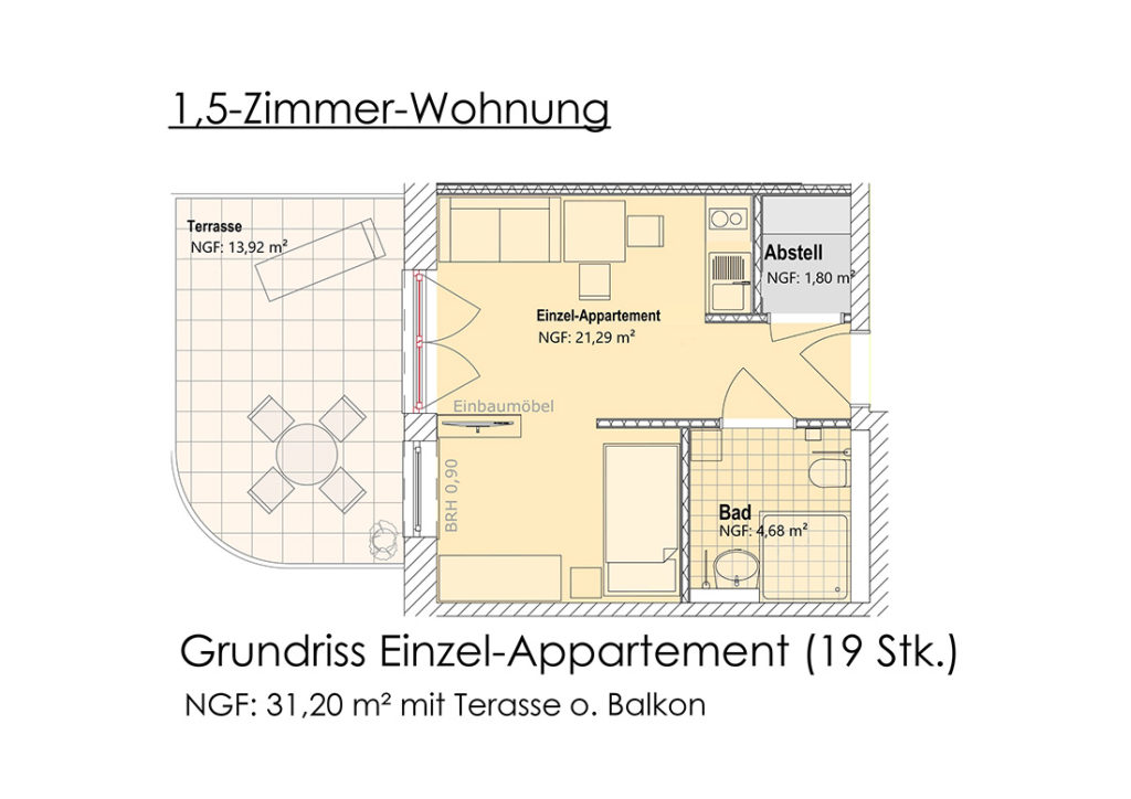 Visualisierung - Grundriss 1,5-Zimmer-Appartment (EG)