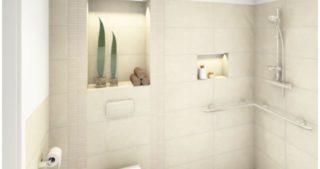 Visualisierung - mögliches Bad mit Blick zur Dusche